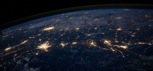 Earth seen from space at night