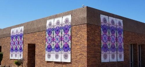 Photo of Kyllan Maney's work on the exterior of the Edna Vihel Art Center
