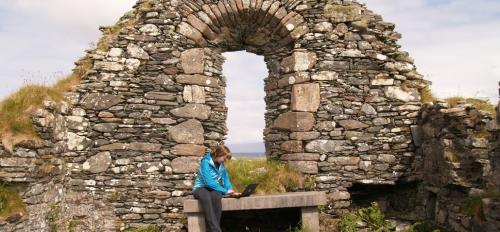 Elise Alonzi at Irish monastery ruins