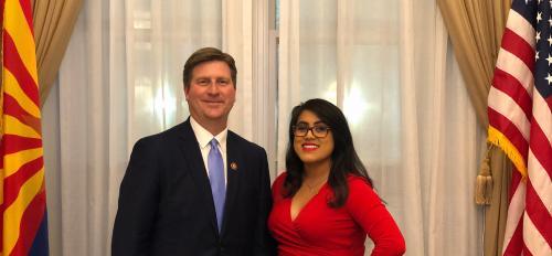 ASU alumna Ellie Perez with Arizona Congressman Greg Stanton before the State of the Union address in Washington D.C. February 2019.