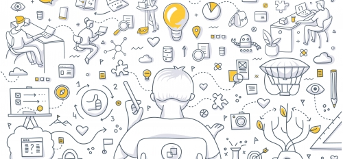 A graphic depicts a person brainstorming ideas and prototyping.