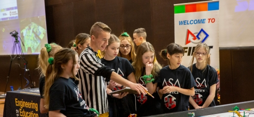 Participants at the FIRST LEGO League state championship tournament.