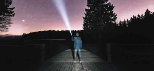 photo of man shining flashlight at starry sky