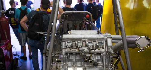 Formula SAE students work in the shop.