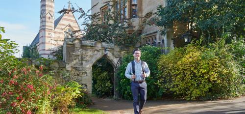 A student walks through Oxford