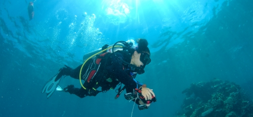 Dr. Alexandra Ordonez collects georeferenced reef data with GPS overhead. Credit: Chris Roelfsema