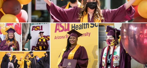 Photo collage of images from the College of Health Solutions in-person graduation ceremonies