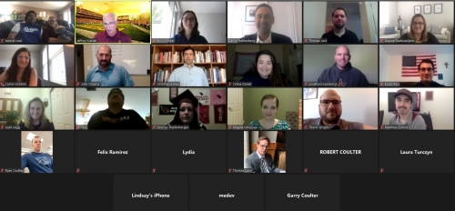 screen capture of several people in an online Zoom meeting