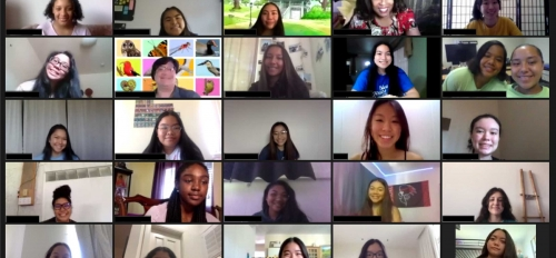 A Zoom collage screen of participants in a high school STEM program