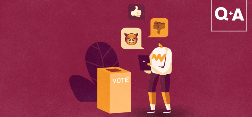 illustration of person near voting box surrounded by social icons