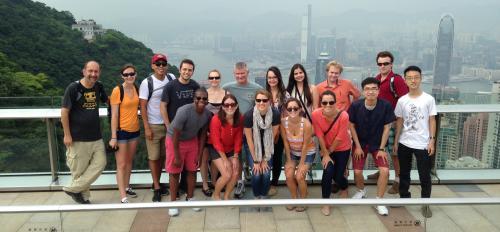 group of ASU students posing in Hong Kong