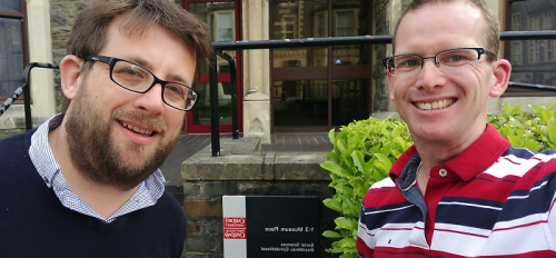 Dr. Jeremy Segrott and Dr. Jonathan Pettigrew at Cardiff University