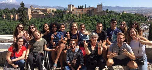 Professor Carmen Urioste-Azcorra with study abroad students