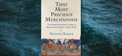 """""""That Most Precious Merchandise"""" book cover, with ocean waves in the background."""