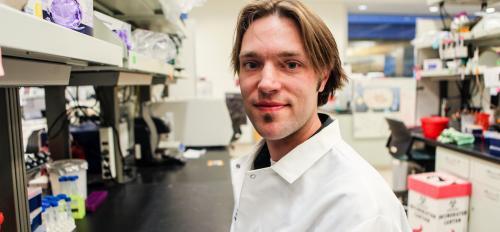ASU graduate student Justin Wolter in a lab