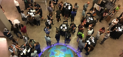 view from above of people mingling at event