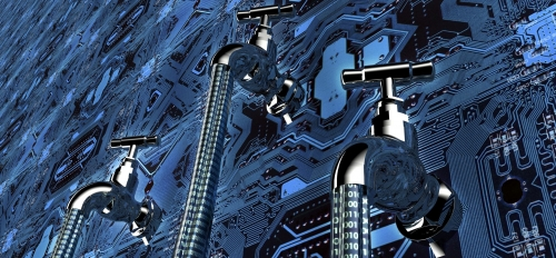 Artistic rendition of faucets representing the data carried by infrastructure systems