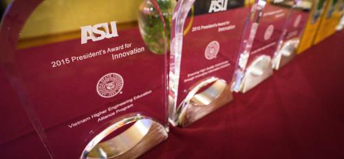 close up of President's Recognition Reception awards