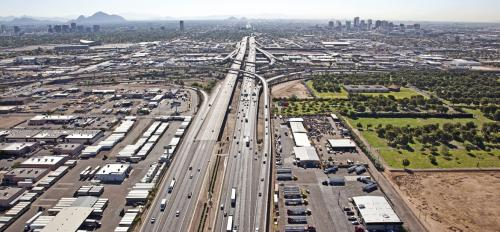 A steady stream of traffic on I-10 through Phoenix, Arizona.