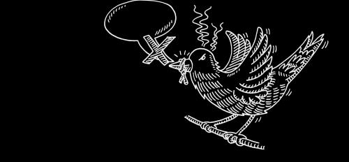 illustration of bird with speech bubble and bird's beak tied
