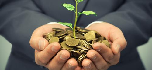 Man holding change and small plant