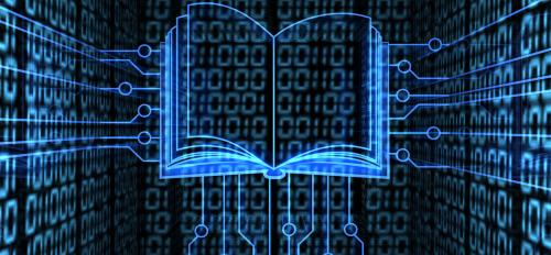 An image of a floating book made of glowing binary code