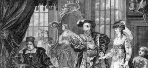 Engraving: King Henry VIII Brings Anne Boleyn to Cardinal Wolsey