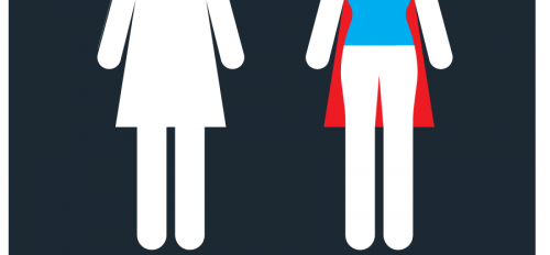 woman's bathroom symbol changed to look like a superhero cape