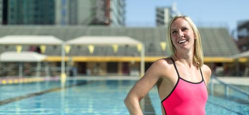 Olympic swimmer and ASU Online student Jessica Hardy in a pool