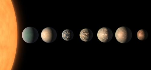 Artist's concept shows what the TRAPPIST-1 planetary system may look like