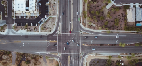 aerial view of a busy city intersection