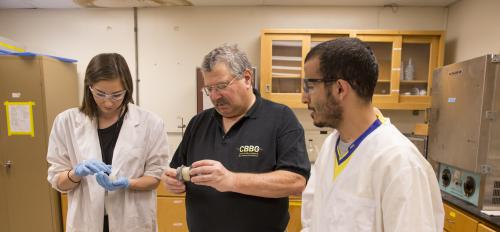 Photo of three people in a lab. Caption: ASU geotechnical engineering expert Ed Kavazanjian (middle) earned the American Society of Civil Engineers' highest honor for his outstanding career achievements.