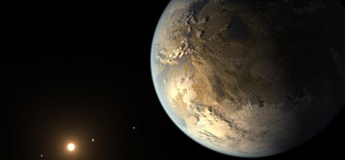 Artistic concept of Kepler-186f, the first validated Earth-size planet to orbit a distant star in the habitable zone
