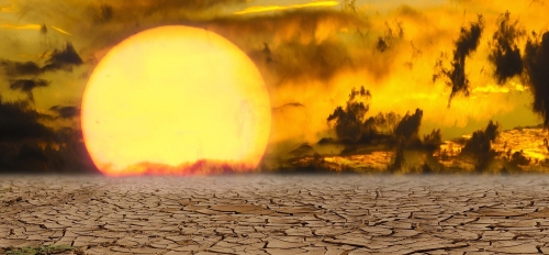 Sun rising over parched earth