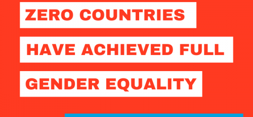 """graphic that says """"zero countries have achieved full gender equality. Let's change that."""""""
