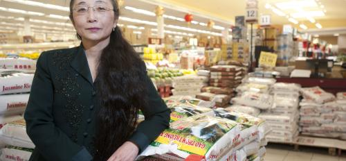 portrait of Wei Li in supermarket
