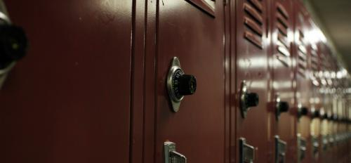 A row of school lockers