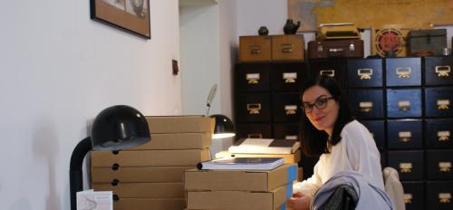 photo of Matczak going through archives