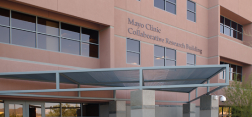 Exterior image of the three story Mayo Clinic Collaborative Research Building