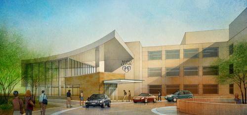 Artist's rendering shows the exterior of the new Mayo Clinic facility