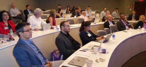 Participants in the inaugural 2019 Mayo Clinic and ASU MedTech Accelerator attend a lecture at Mayo Clinic Scottsdale Campus.