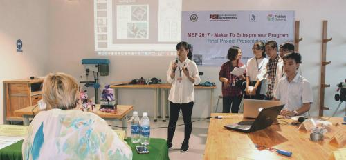 Vietnamese students present their prototype in an entrepreneurship competition in Danang, Vietnam.