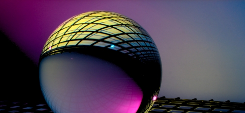 computer illustration of a reflective sphere