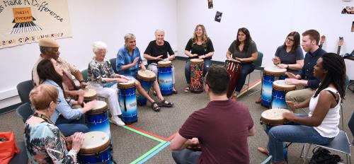 Students and faculty at Music Therapy Clinic session
