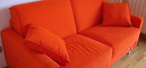 An orange couch.