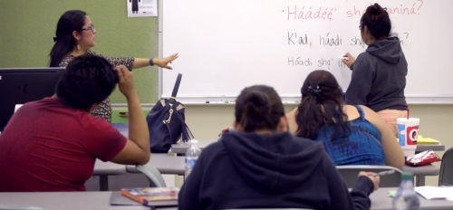 teacher and students in a Navajo language class at ASU