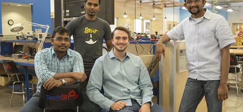 The co-founders of Neolight, left to right: Sivakumar Palaniswamy, Deepak Krishnaraju, Chase Garrett and Vivek Kopparthi at TechShop, located in ASU's Chandler Innovation Center. Photographer: Hayden Taylor/ASU