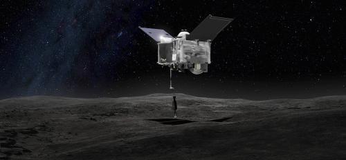 OSIRIS-REx spacecraft at asteroid Bennu