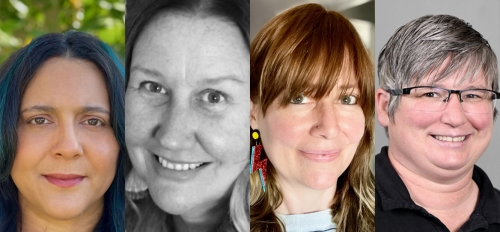 mugshot photos of four women