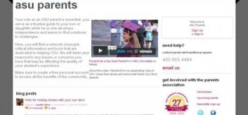 Screen shot from ASU Parents Website